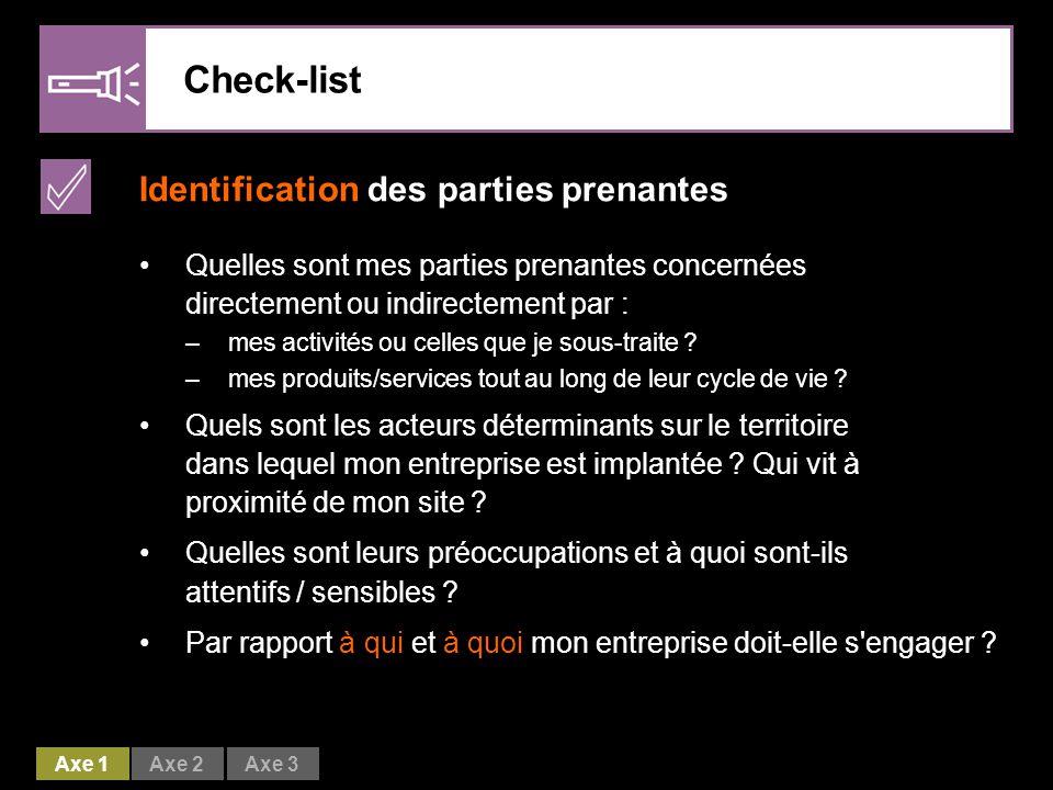 Check-list Identification des parties prenantes