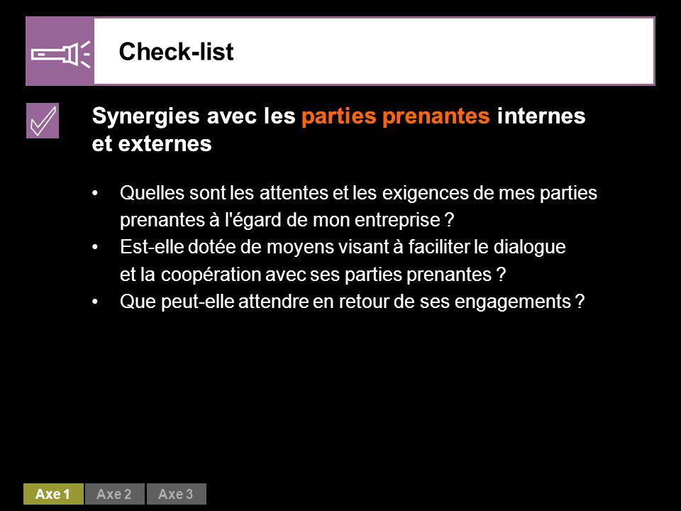 Check-list Synergies avec les parties prenantes internes et externes