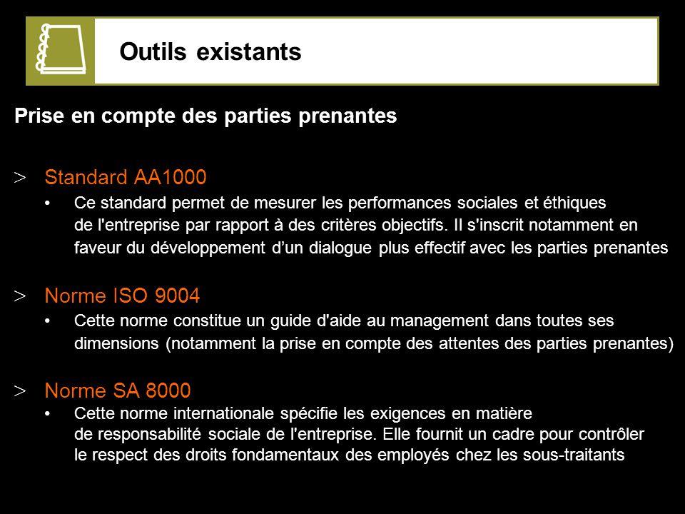 Outils existants Prise en compte des parties prenantes Standard AA1000