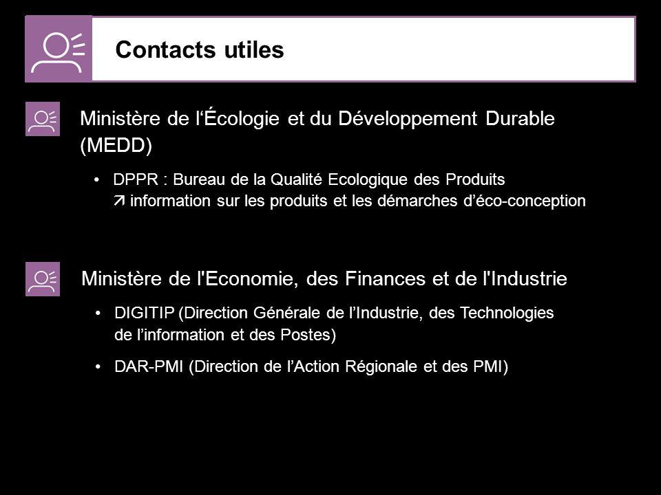 Contacts utiles Ministère de l'Écologie et du Développement Durable (MEDD)