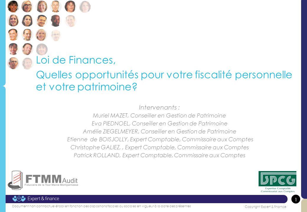 Loi de Finances, Quelles opportunités pour votre fiscalité personnelle et votre patrimoine Intervenants :