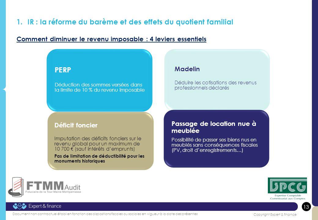 IR : la réforme du barème et des effets du quotient familial