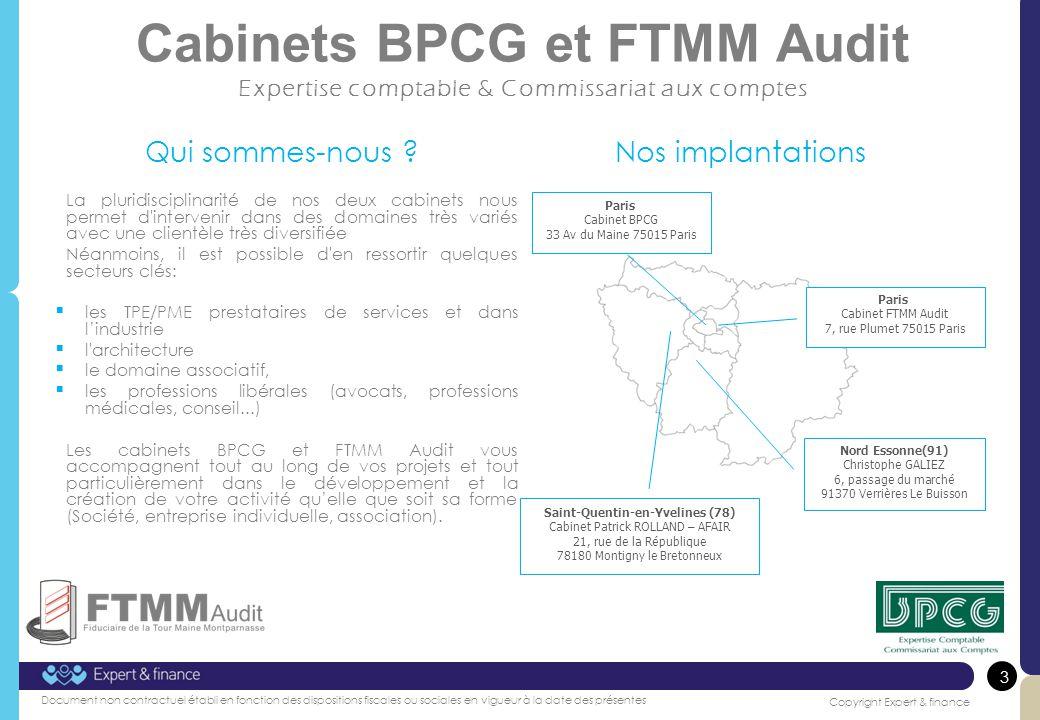 Cabinets BPCG et FTMM Audit Expertise comptable & Commissariat aux comptes