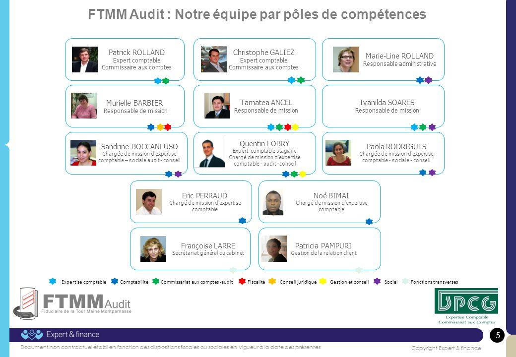 FTMM Audit : Notre équipe par pôles de compétences