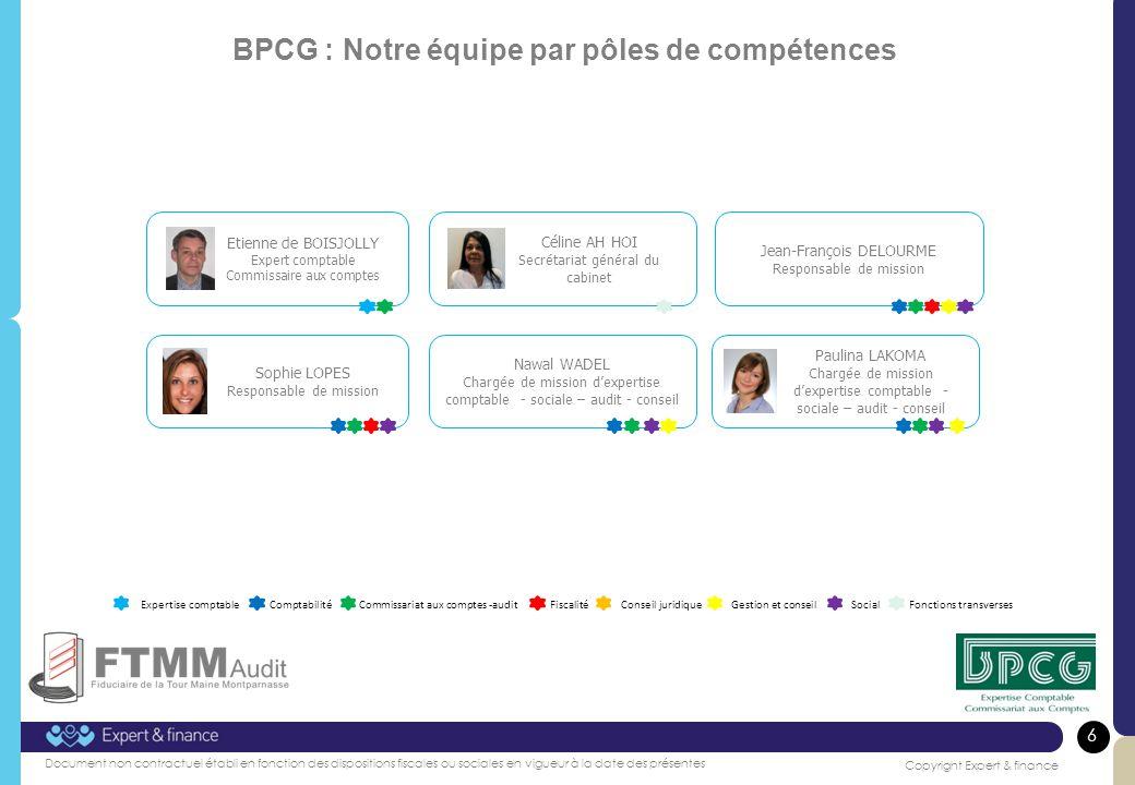 BPCG : Notre équipe par pôles de compétences