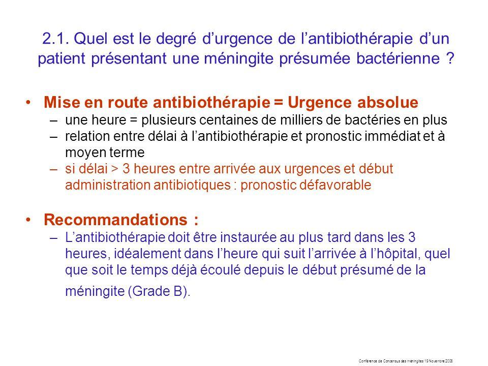 Mise en route antibiothérapie = Urgence absolue