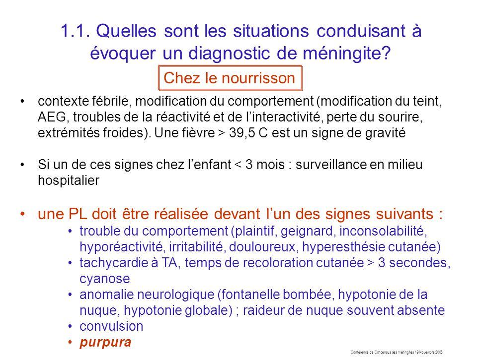 1.1. Quelles sont les situations conduisant à évoquer un diagnostic de méningite
