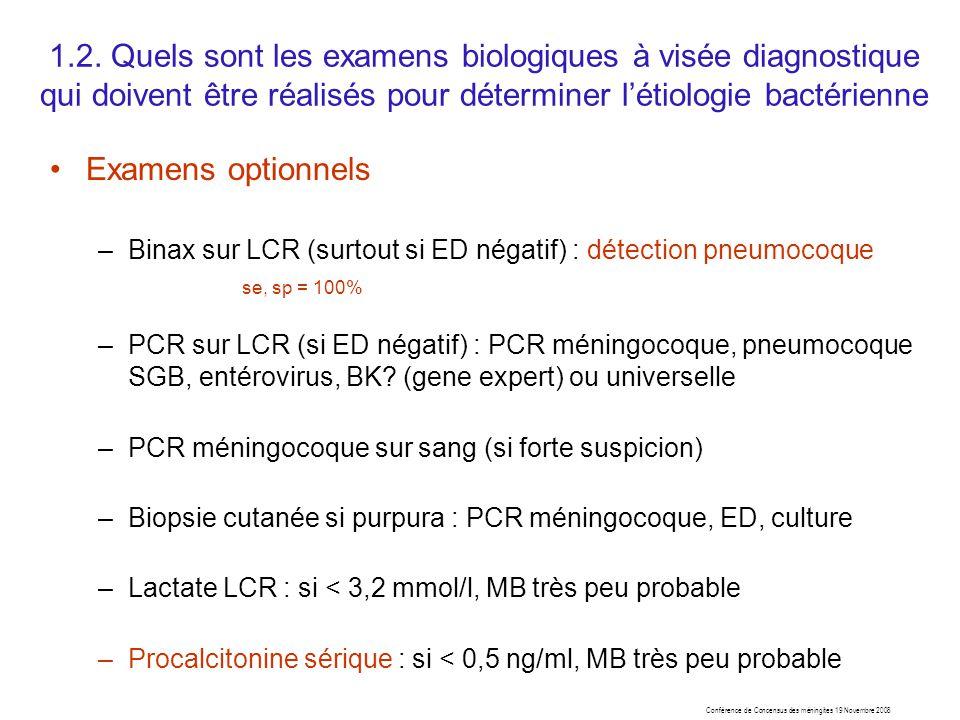 1.2. Quels sont les examens biologiques à visée diagnostique qui doivent être réalisés pour déterminer l'étiologie bactérienne