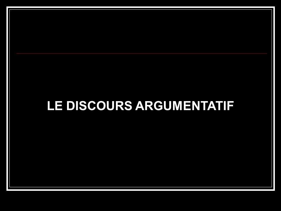 LE DISCOURS ARGUMENTATIF