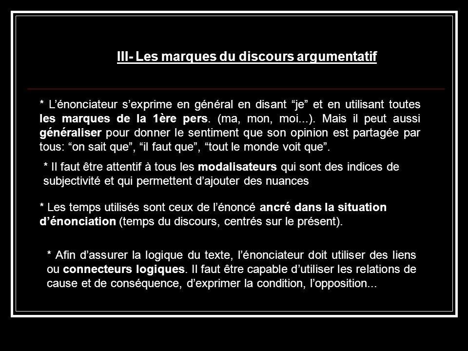 III- Les marques du discours argumentatif