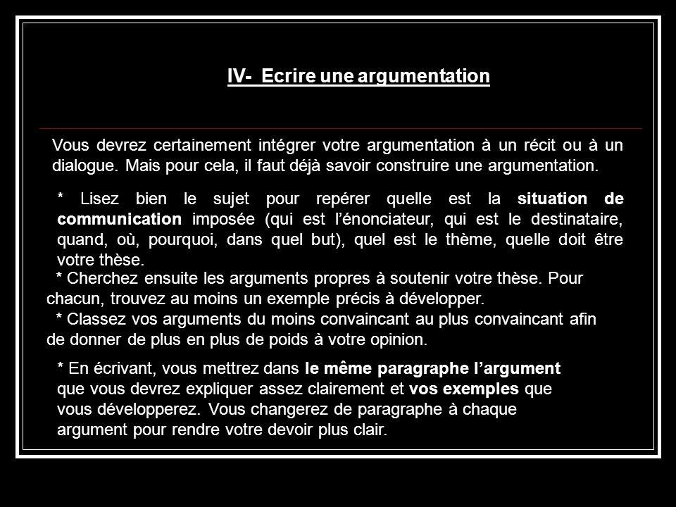IV- Ecrire une argumentation