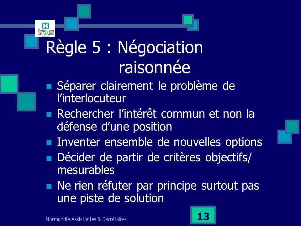 Règle 5 : Négociation raisonnée