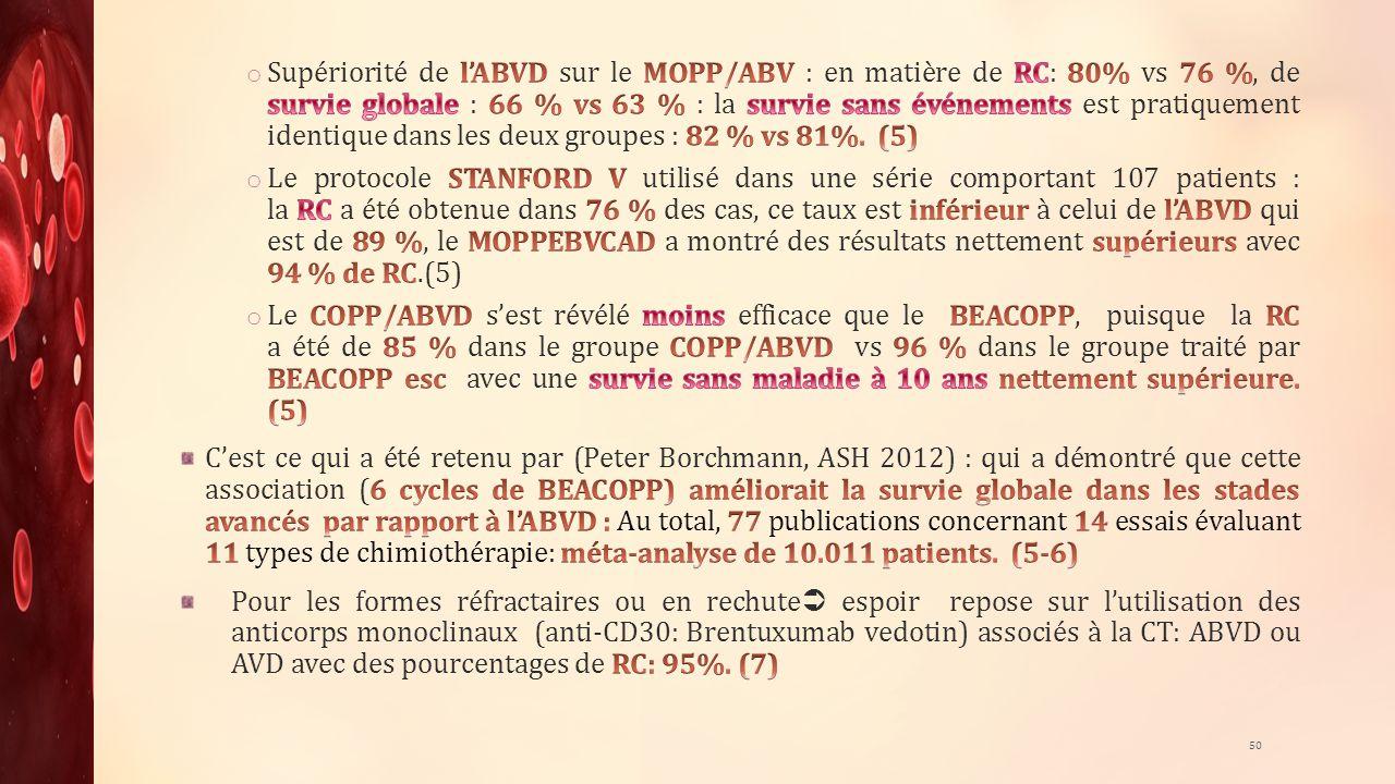 Supériorité de l'ABVD sur le MOPP/ABV : en matière de RC: 80% vs 76 %, de survie globale : 66 % vs 63 % : la survie sans événements est pratiquement identique dans les deux groupes : 82 % vs 81%. (5)