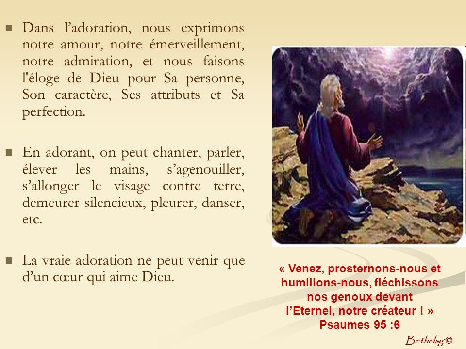 l'Eternel, notre créateur ! »