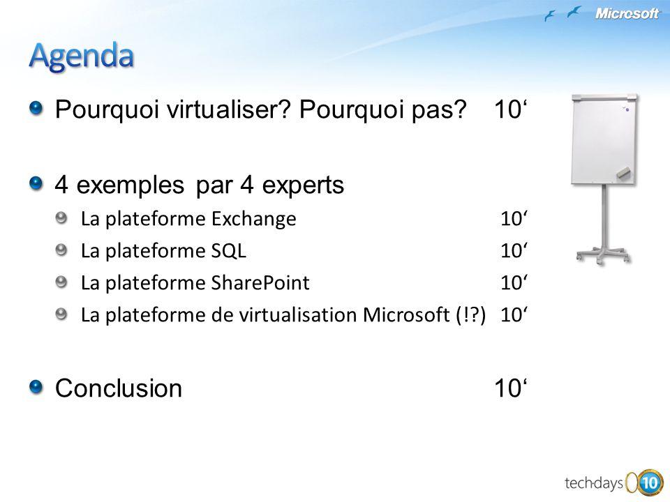 Agenda Pourquoi virtualiser Pourquoi pas 10'