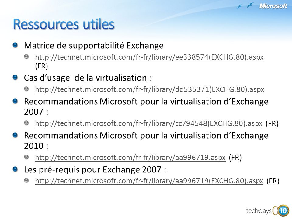 Ressources utiles Matrice de supportabilité Exchange