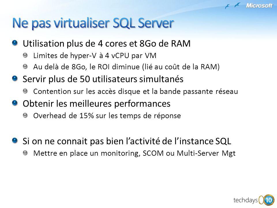 Ne pas virtualiser SQL Server