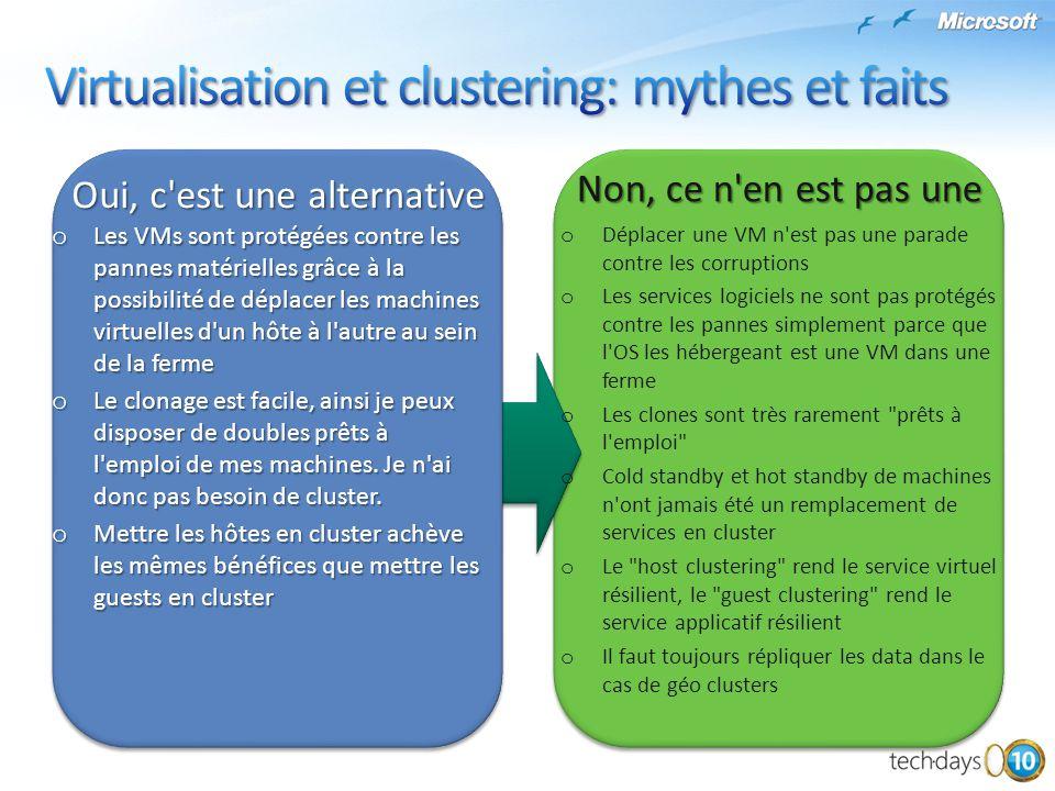 Virtualisation et clustering: mythes et faits