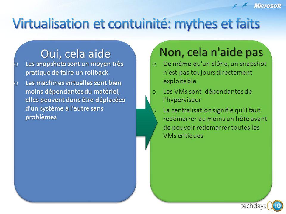 Virtualisation et contuinité: mythes et faits