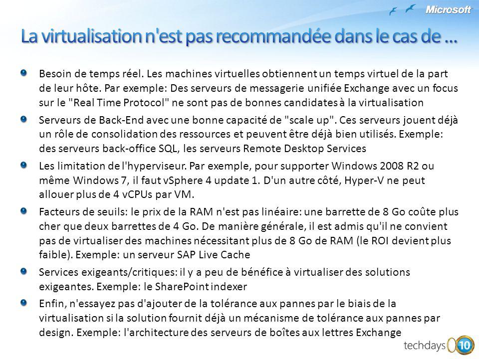 La virtualisation n est pas recommandée dans le cas de ...
