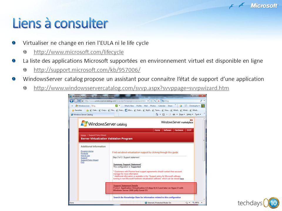 Liens à consulter Virtualiser ne change en rien l EULA ni le life cycle. http://www.microsoft.com/lifecycle.