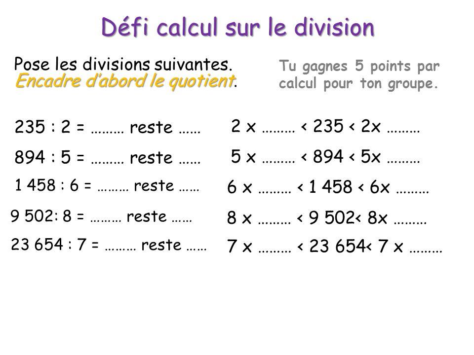 Défi calcul sur le division