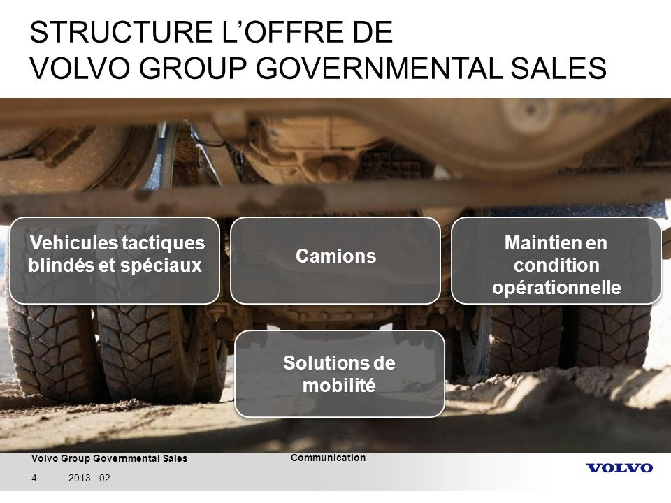 STRUCTURE L'OFFRE DE VOLVO GROUP GOVERNMENTAL SALES