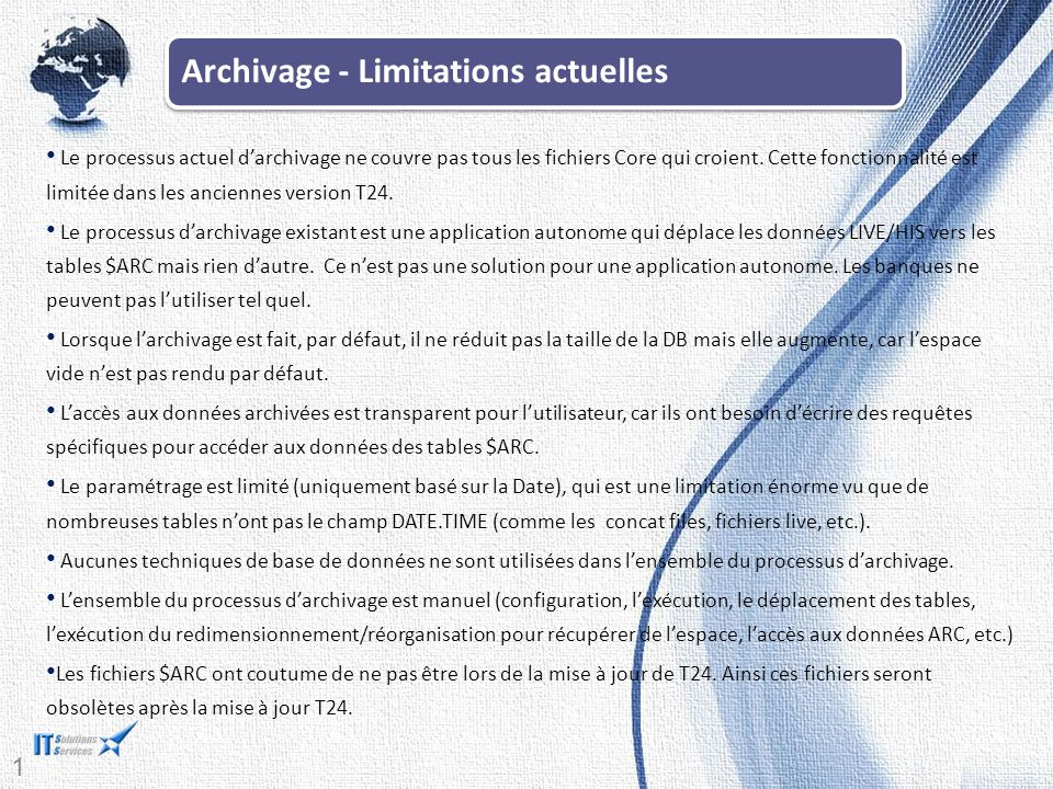 Archivage - Limitations actuelles