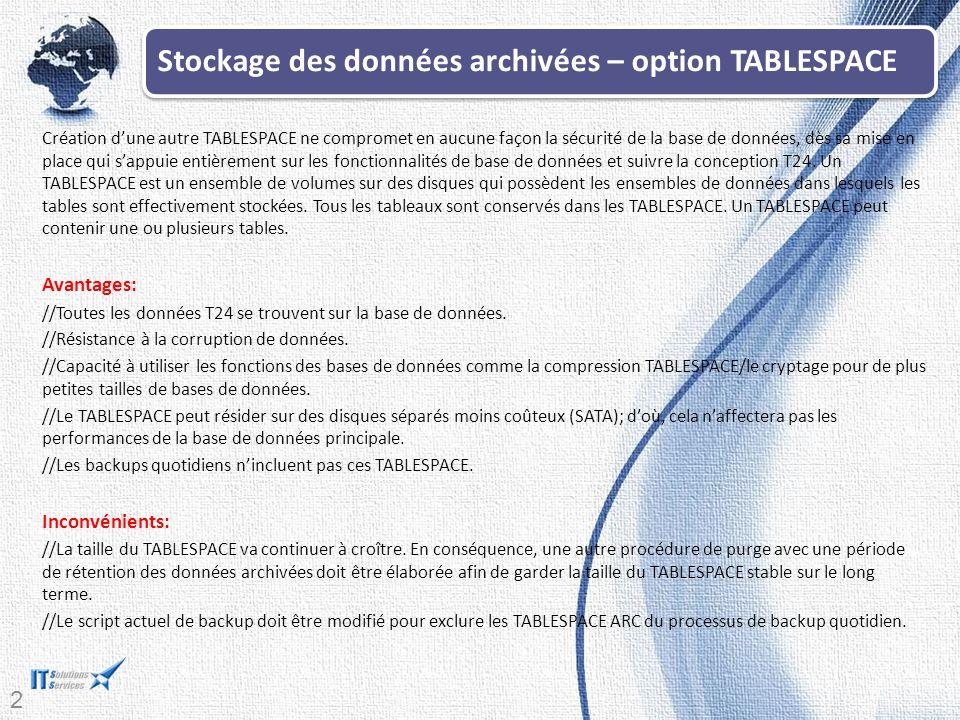Stockage des données archivées – option TABLESPACE