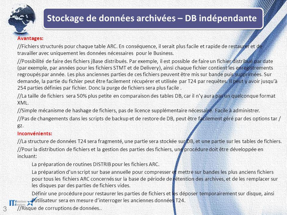 Stockage de données archivées – DB indépendante