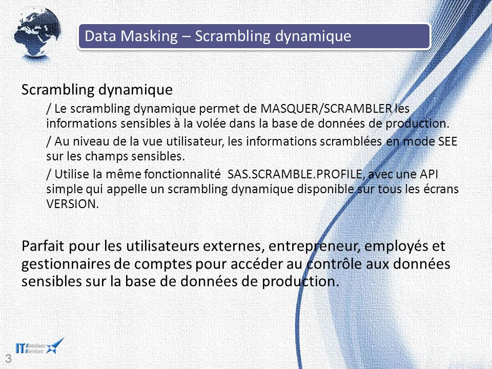Data Masking – Scrambling dynamique