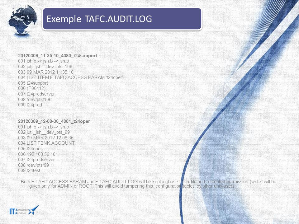 Exemple TAFC.AUDIT.LOG