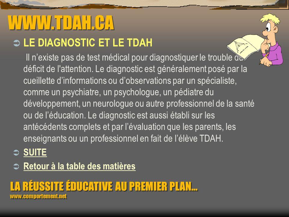 WWW.TDAH.CA LE DIAGNOSTIC ET LE TDAH
