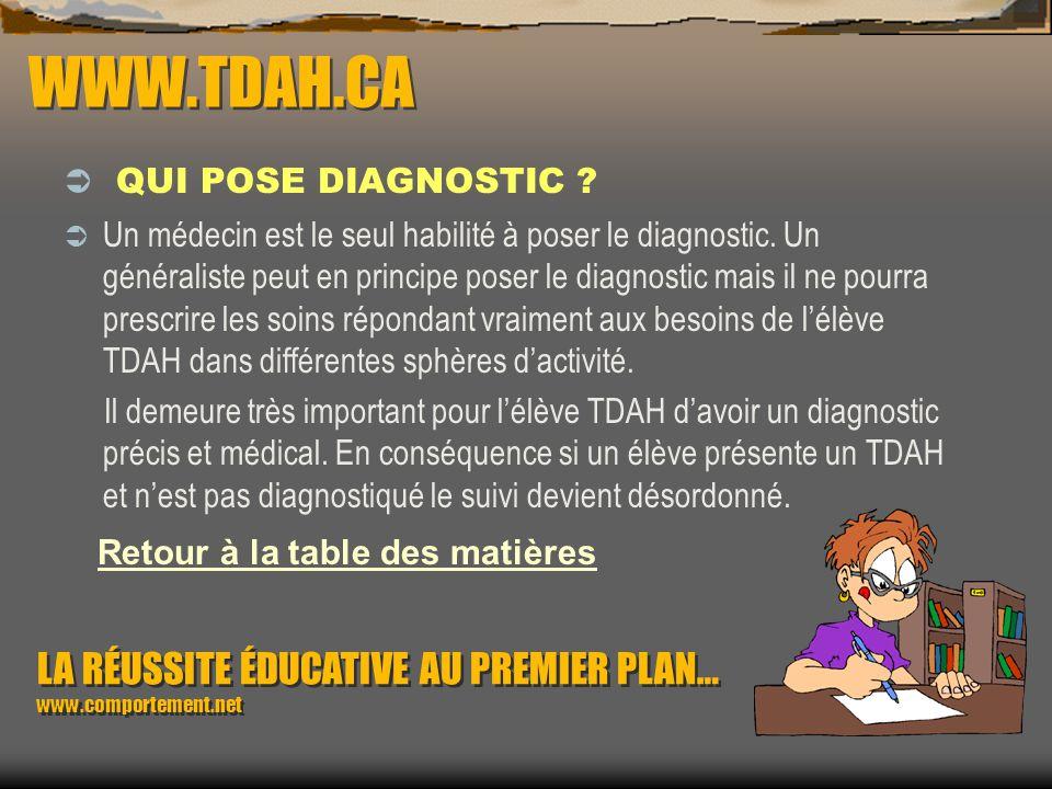 WWW.TDAH.CA QUI POSE DIAGNOSTIC Retour à la table des matières