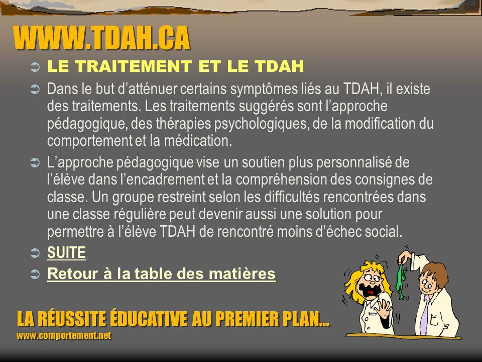 WWW.TDAH.CA LE TRAITEMENT ET LE TDAH.