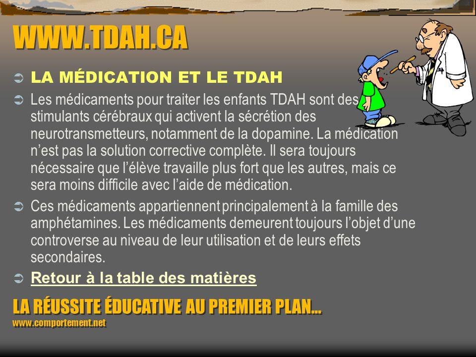 WWW.TDAH.CA LA MÉDICATION ET LE TDAH.