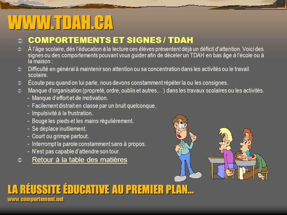 WWW.TDAH.CA COMPORTEMENTS ET SIGNES / TDAH.