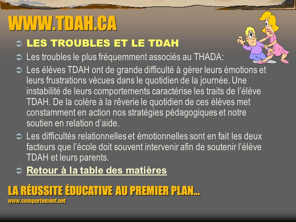 WWW.TDAH.CA LES TROUBLES ET LE TDAH. Les troubles le plus fréquemment associés au THADA: