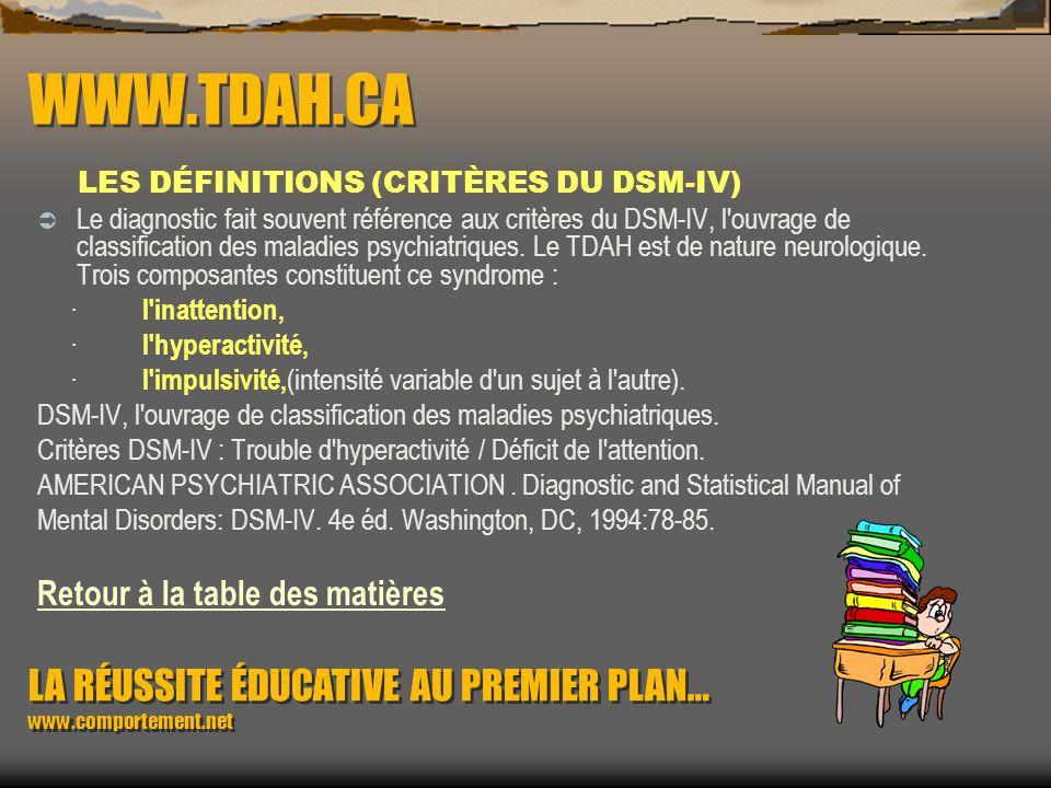 WWW.TDAH.CA LES DÉFINITIONS (CRITÈRES DU DSM-IV)