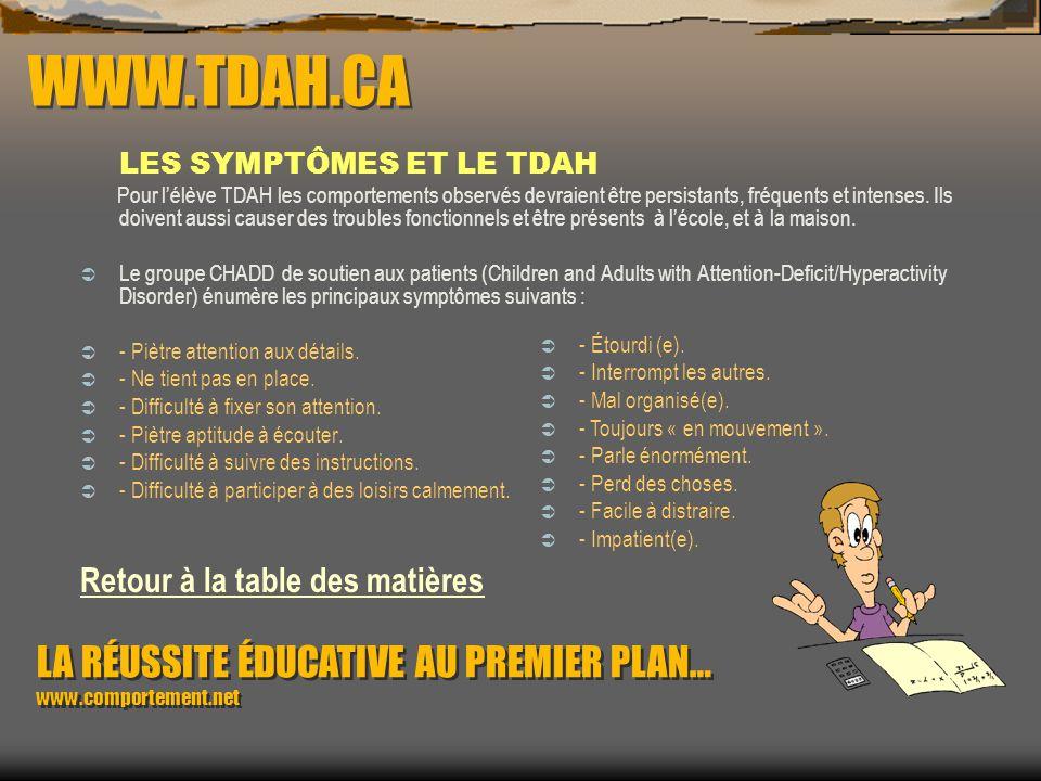 WWW.TDAH.CA LES SYMPTÔMES ET LE TDAH.