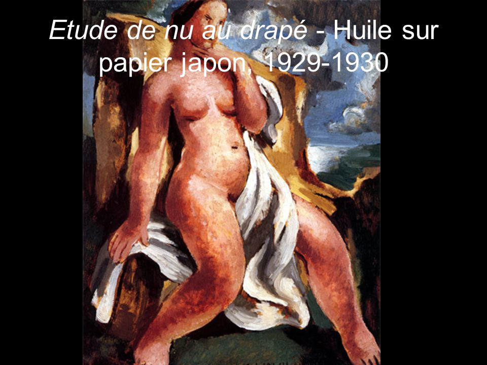 Etude de nu au drapé - Huile sur papier japon, 1929-1930