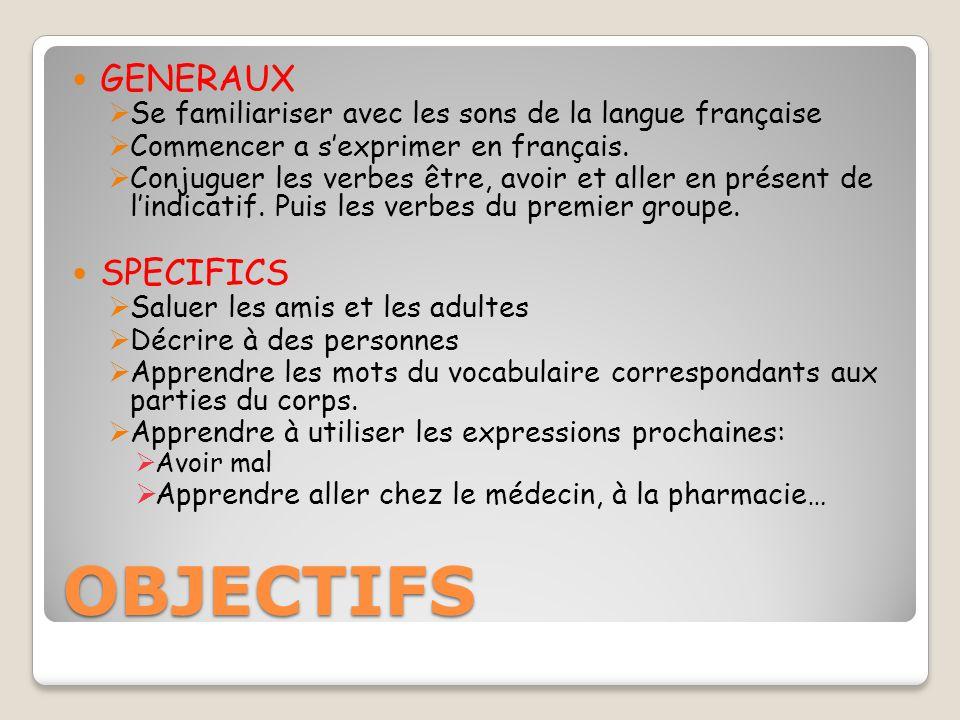 OBJECTIFS GENERAUX SPECIFICS