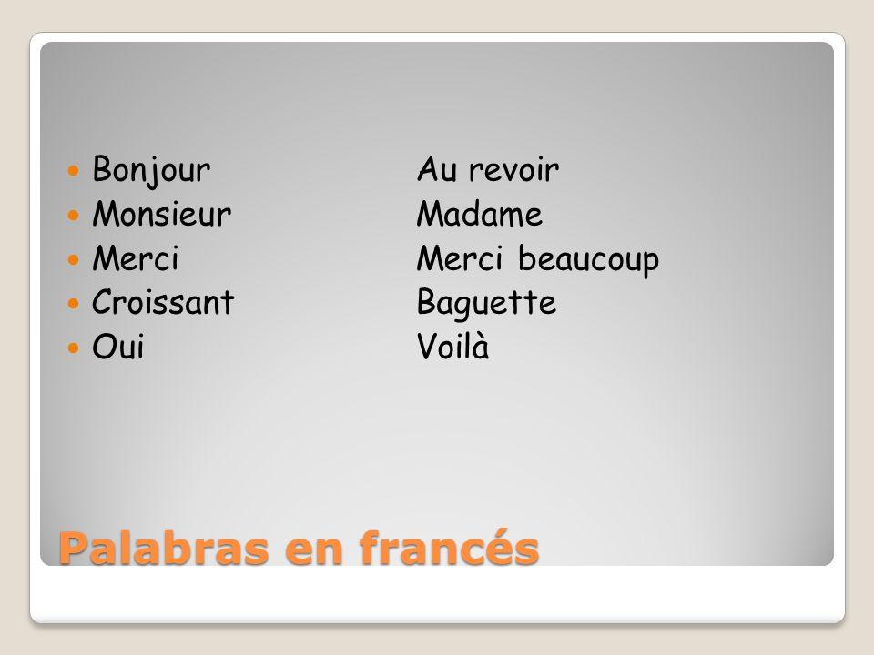Palabras en francés Bonjour Au revoir Monsieur Madame