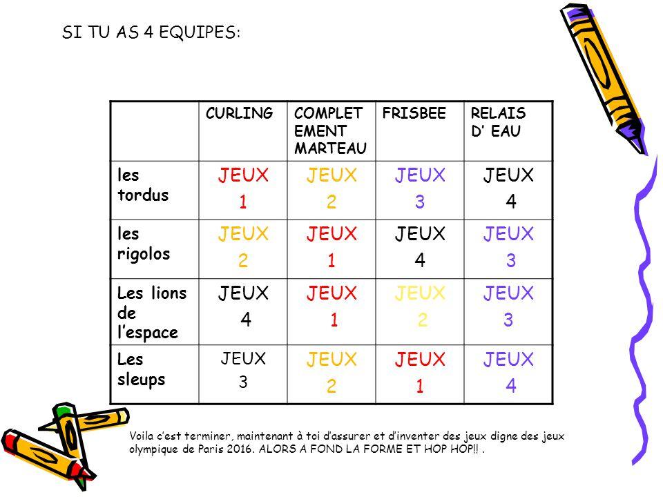 JEUX 1 2 3 4 SI TU AS 4 EQUIPES: les tordus les rigolos
