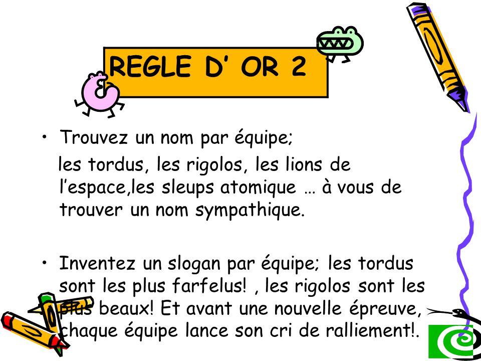 REGLE D' OR 2: REGLE D' OR 2 Trouvez un nom par équipe;
