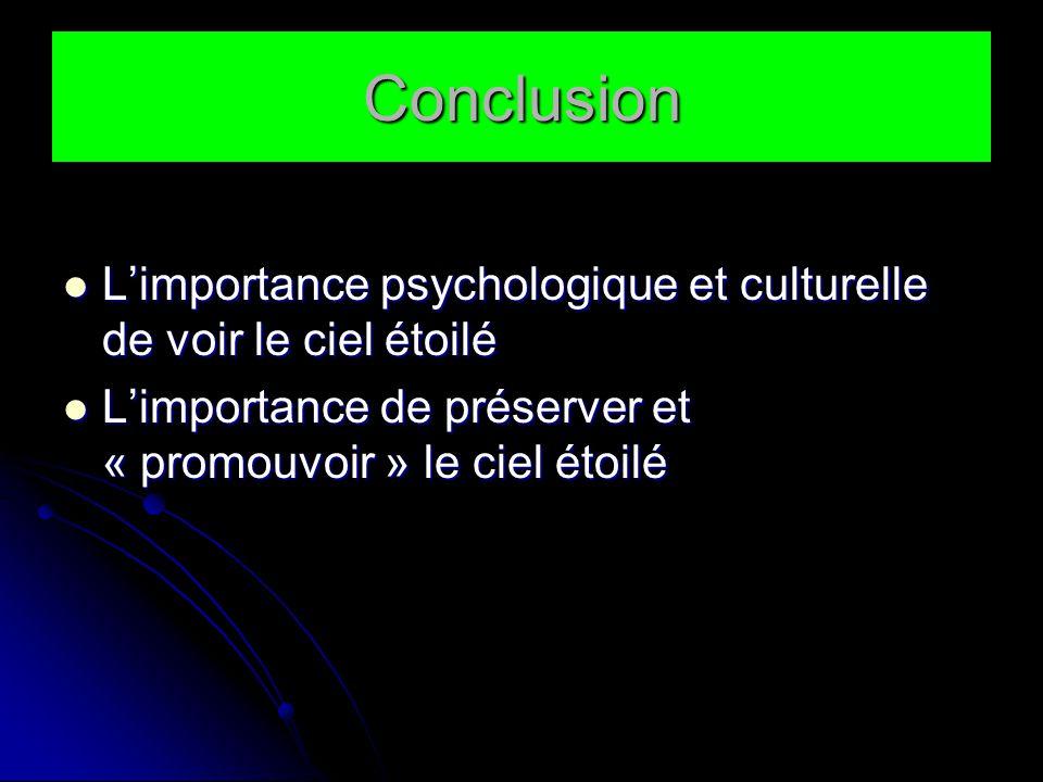 Conclusion L'importance psychologique et culturelle de voir le ciel étoilé.