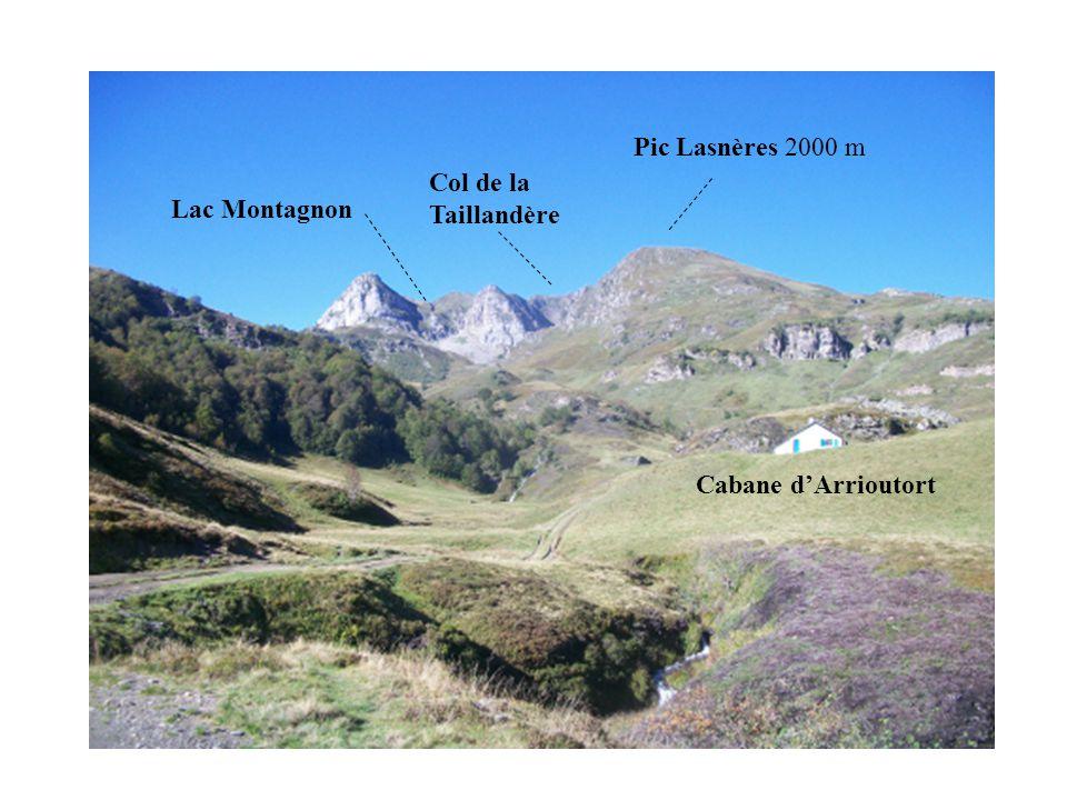 Pic Lasnères 2000 m Col de la Taillandère Lac Montagnon Cabane d'Arrioutort