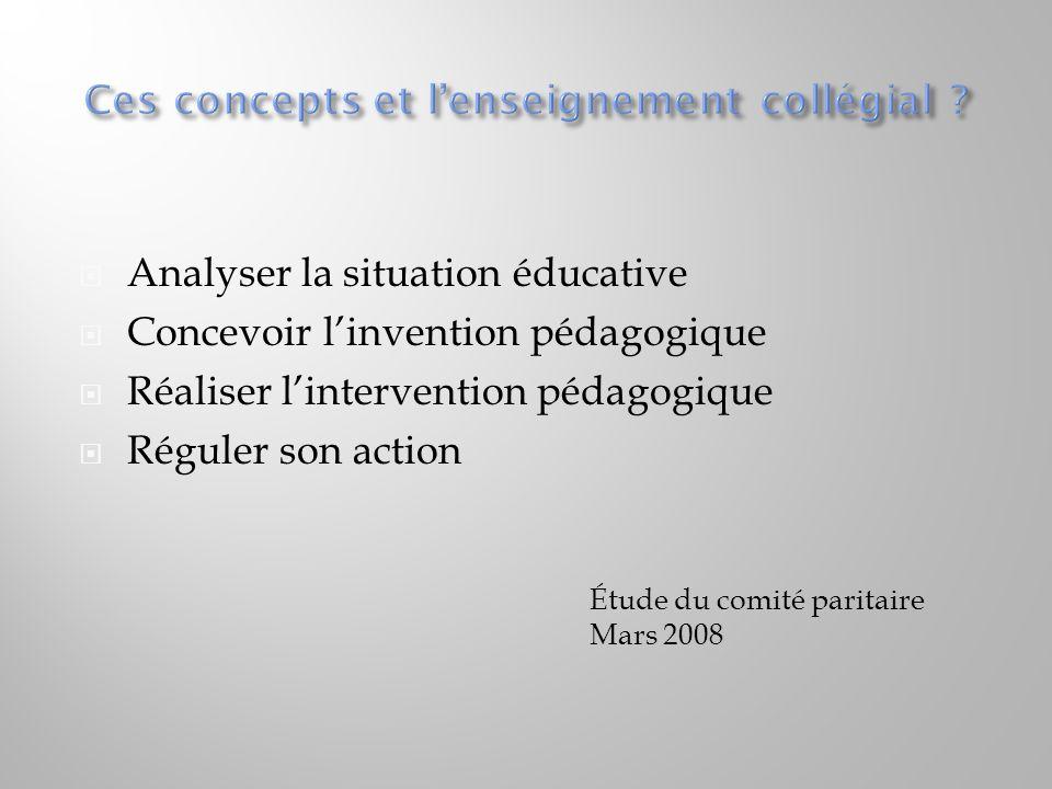 Ces concepts et l'enseignement collégial