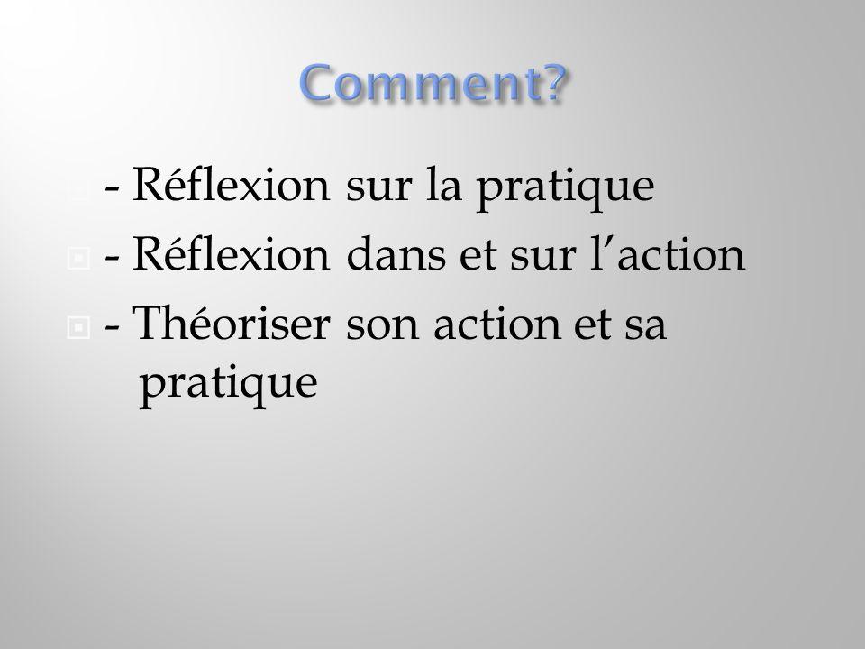 Comment - Réflexion sur la pratique - Réflexion dans et sur l'action