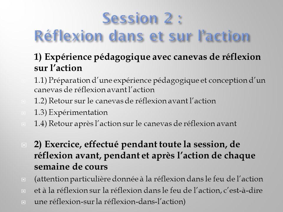 Session 2 : Réflexion dans et sur l'action
